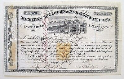 Michigan Southern & Northern Indiana RR Stock 1868 RN-T4