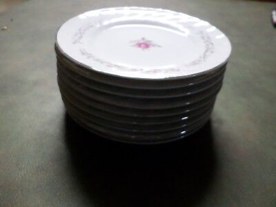 "9 Fine China of Japan Royal Swirl  6 3/8"" Bread Plates VGUC"