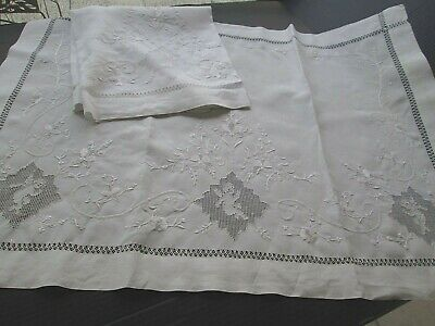 "Antique White French Linen Pair Pillow Layovers, Cherubs & Embroidery.30"" X 40"
