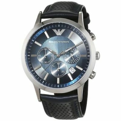 Armani Mens Chronograph Watch Ar2473 Renato Blue Leather Strap, Coa, Rrp £289.00
