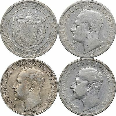 1882 , 1891, 1891 & 1894 Bulgaria Silver 2 Leva, Lot of 4 Coins
