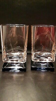 2 Square Glasses Crystal D'arques Vintage Footed Pink And Blue Gorgeous!