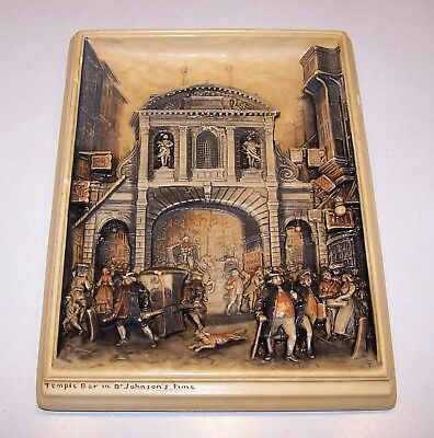 "Vintage 1906 Ivorex Plaque, Osborne, ""Temple Bar in Dr. Johnson's Time."""