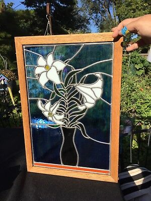"Stained Glass Window Panel Hanging Sun catcher - Flowers - 13.25"" X 19.25"""