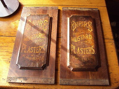1800s Empire Mustard Plasters Antique Old West Advertising (2) Wood Panels Sign