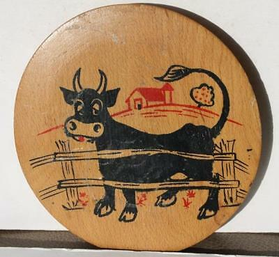 Country Cow Wooden Wall Hanging Plaque Hand Painted w-Barn Cartoon-Comic Style