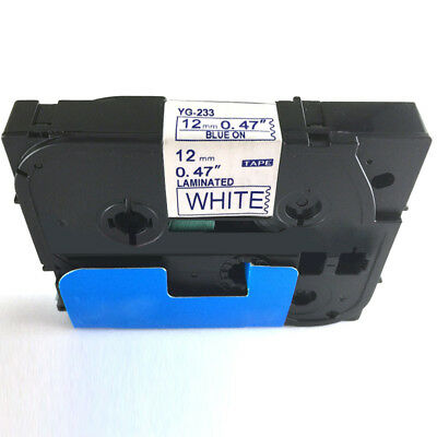 Blue on White Laminated Tze Tz Label Tape 12mm Compatible for Brother P-Touch