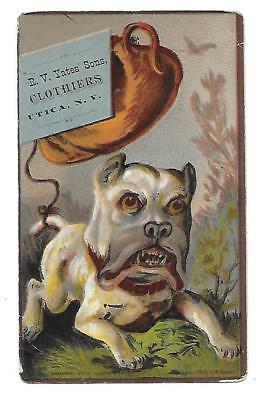 R. V. Yates Sons Clothiers Victorian Trade Card Utica N. Y. Mean Angry Dog