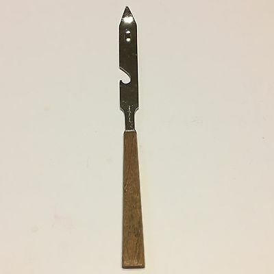 """Vintage Old Fashioned Stainless Can/Bottle Opener Wooden Handle 8 1/2"""" Japan"""