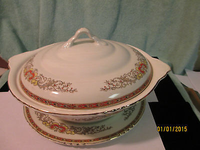 John Maddock & Sons Royal Vitreous Tureen W/handles Initialed And Stamped On Plt