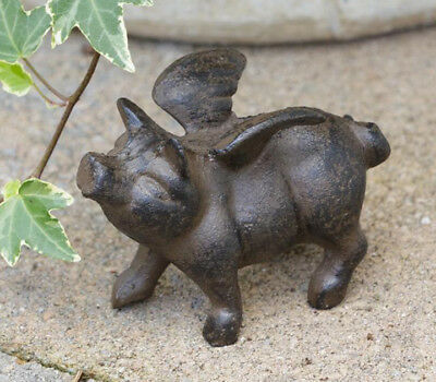 Small Rustic Flying Pig Figurine, Cast Iron