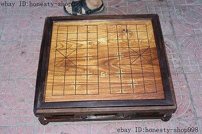 """24""""Rare Huanghuali wood hand-carved Board games Chess Gobang checkerboard desk"""