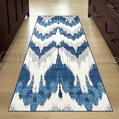 ALBA IKAT BLUE GREY SUPER SOFT MODERN RUG RUNNER 80x400cm **FREE DELIVERY**