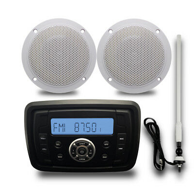 "Marine Digital Bluetooth Boat Audio Radio+4"" 2 Way Marine Speakers+FM/AM Antenna"