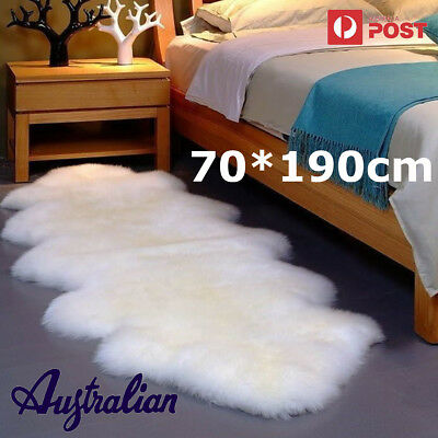 Double Pelt LARGE Soft Sheepskin Rug Mat Seat Pad White/Grey/Black - 190*70cm