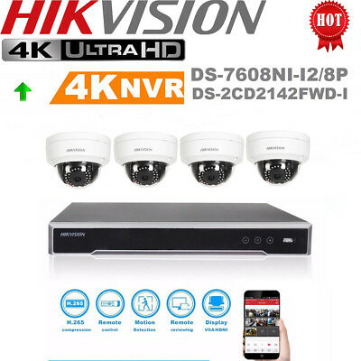HIKVISION 4MP 8 Channel 8PoE Home Outdoor Security PoE Camera CCTV Systems Kit