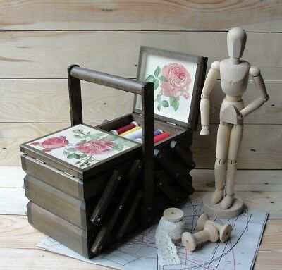Cantilever sewing box Accordion sewing box Sewing basket Decoupage Button box