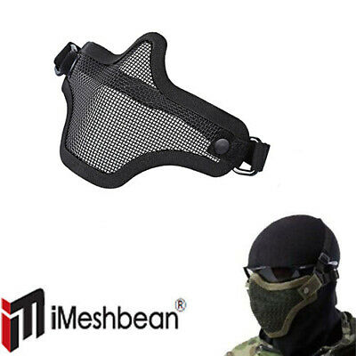 Protective Tactical Airsoft Mask Striker Steel Metal Mesh Half Face Mask US