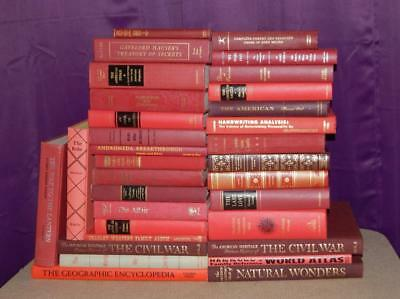 Lot Of 10 Mixed Unsorted Red Vintage Hardcover Books