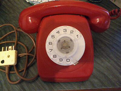 Telecom 70's Vintage Laquer Red 802 Rotary Dial Telephone Phone