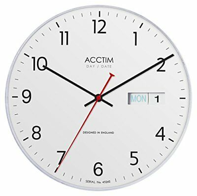 """Acctim """"Datetime Day and Date Wall Clock, White"""