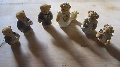 Cherished teddies wedding party lot Wedding Cake topper Bride Groom best man mai