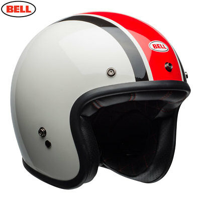 Bell Custom 500 SE Stadium Ace Cafe Red White Black With Leather Goggle Strap