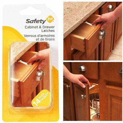 14 Pack Baby Kids Child Safety Proof Drawer Door Wide Grip Lock Cabinet Latches