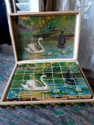 Great,Antique,French Victorian box with two wooden puzzles ,3 victorian scenes