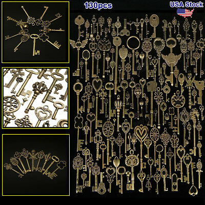 130 pcs Antique Bronze Brass Vtg Ornate Skeleton Keys Lot Cabinet Barrel Lock US