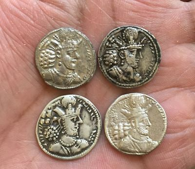 Sassanian King Lot Of 4 Coins Drachm