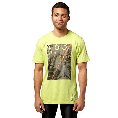 Reebok CrossFit DT Graphic T1 Mens Short Sleeve Tee Yellow Fitness Gym T-Shirt