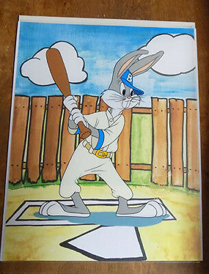 "Bugs Bunny ~ ""baseball Bugs"" Warner Brothers Animation Cel With Background"