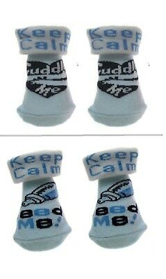 2 pairs NEWBORN BABY SOCKS keep calm feed me cuddle me blue white boy