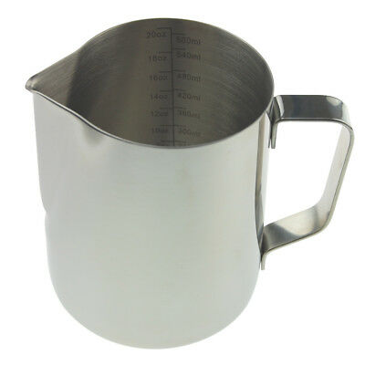 Barista Milk Jug 600Ml Stainless Steel Ideal For Coffee Latte Cappuccino In-102