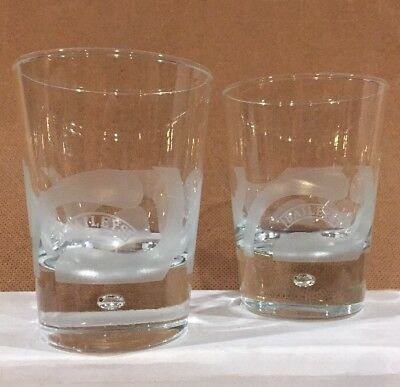 Set of 2 Baileys Irish Cream Etched Glasses with Bubble on Bottom Mug Cup Stein
