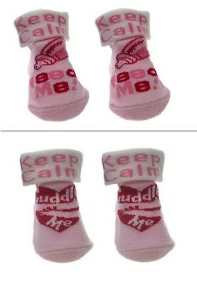 2 pairs NEWBORN BABY SOCKS Keep Calm Feed Me Cuddle Me for girls cotton rich