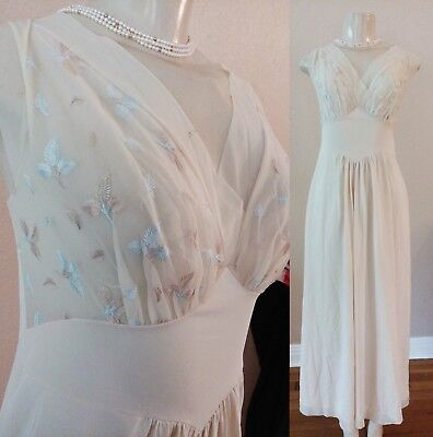 VTG 40s 50's Nude Lingerie Nylon chiffon Gown empire wst S maxi dress embroidery