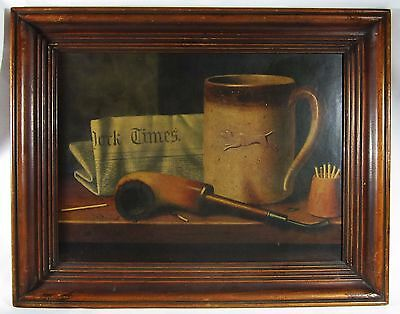 William Harnett Trompe-l'oeil Print His Mug Pipe Still Life 1880 Vintage Framed