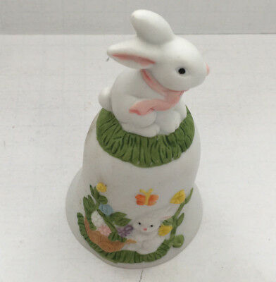 vintage small collectible bisque porcelain bunny rabbit bell Easter spring decor