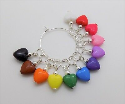 A Colourful Set of 10 x Heart SOCK KNITTING Stitch Markers - Fit 5.5mm Needles