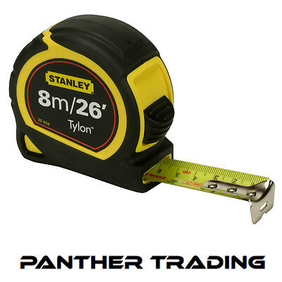 Stanley Durable 8m/26ft Pocket Tape Measure with Long life Tylon™ - STA30-656