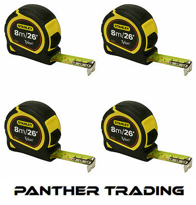 4X Stanley Durable 8m/26ft Pocket Tape Measure with Long life Tylon™ - STA30-656