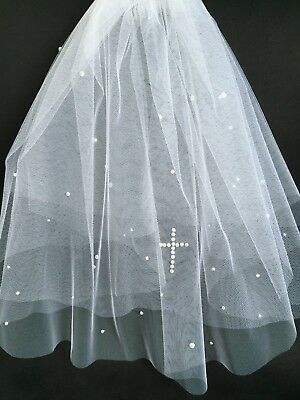 """FAB White Tulle COMMUNION Veil 2Tiers Comb Sparkle Diamante or Pearl CROSS 19"""""""