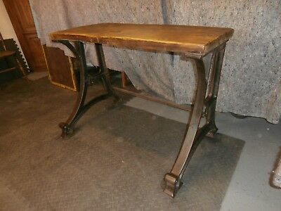 19th CENTURY CAST IRON OAK LATHE STAND BENCH DESK WORKSTATION INDUSTRIAL RETRO