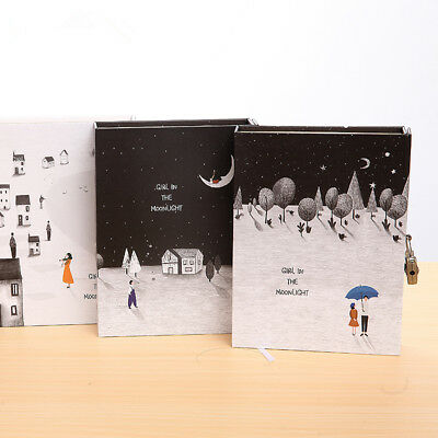 """""""Moon Girl"""" 1pc Big Hard Cover Notebook Lock Box Diary Colored Paper Journal"""
