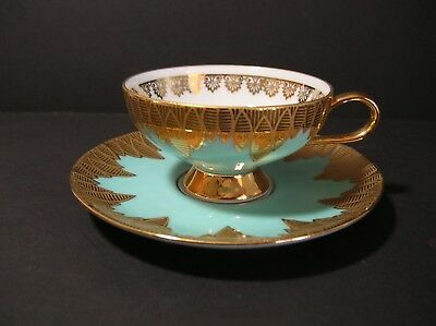 Rudolph Wachter RW Bavaria Turquoise Gold Demitasse Tea Cup Saucer Set Germany