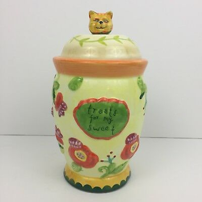 """Kimberly Hodges Cupcakes & Cartwheels Cat Canister Jar Treats For My Sweets 8.5"""""""