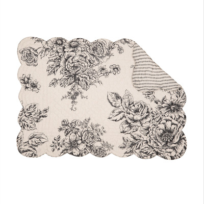 Black, Winter White Floral, Ticking Quilted Reversible C&F Placemat  NELLY ONYX