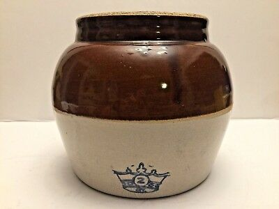 Vintage Stoneware Bean Crock Pot with no lid brown and tan 2 Crown Made In USA